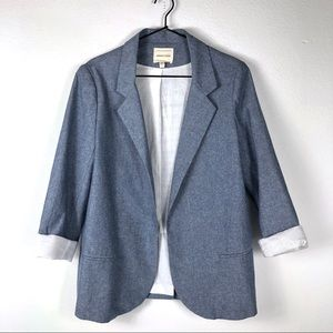 Silence + Noise Cotton Blue Structured Open Blazer